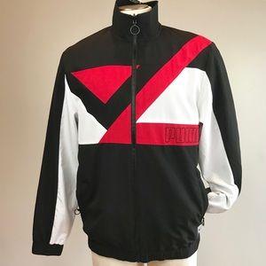 Puma men record track sweat jacket black red new M